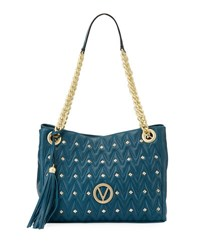 Valentino By Mario Valentino Luisa Sauvage Quilted Leather Tote Bag Blue