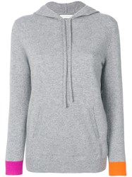 Chinti And Parker Flash Striped Hooded Sweatshirt Cashmere Wool L Grey