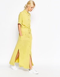 Asos Casual Maxi Shirt Dress Yellow