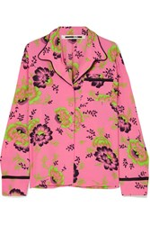 Mcq By Alexander Mcqueen Floral Print Crepe De Chine Shirt Bright Pink