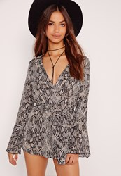Missguided Chiffon Snake Long Sleeve Playsuit Grey Black