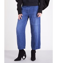 Burberry Wide Leg Cropped Ramie And Cotton Blend Trousers Indigo