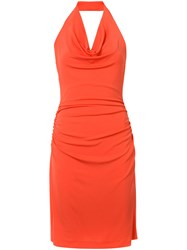 Nicole Miller Cowl Neck Halter Dress Women Polyester Spandex Elastane Acetate Xs Red