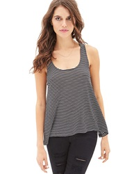 Forever 21 Striped Racerback Tank Black Cream