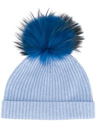 N.Peal Detachable Pompom Hat Blue