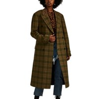 R 13 Plaid And Leopard Print Wool Double Breasted Coat Green
