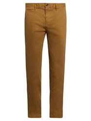 Burberry Slim Leg Cotton Blend Chino Trousers Brown