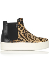 N 21 Leopard Print Calf Hair And Leather Ankle Boots Animal Print