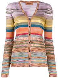 Missoni Striped V Neck Cardigan Orange