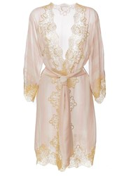 Rosamosario Lace Application Striped Kimono Nude And Neutrals