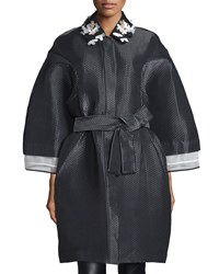 Monique Lhuillier Embellished Collar Oversized Coat Noir