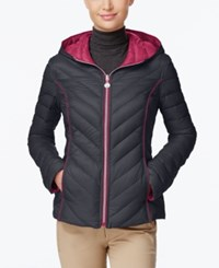 Nautica Reversible Hooded Packable Puffer Coat Only At Macy's Chrome Dark Rose