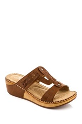 Godiva Laser Cut Wedge Sandal Brown