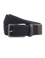 Perry Ellis Woven Leather Trim Belt Navy