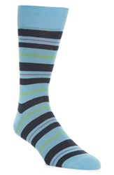Lorenzo Uomo Mixed Stripe Socks Light Blue