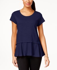 Styleandco. Style And Co. Layered Look Peplum T Shirt Only At Macy's Industrial Blue