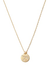 Forever 21 Rhinestone Circle Charm Necklace Matte Gold