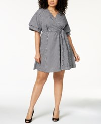 Ny Collection Plus Size Cotton Gingham Wrap Dress Black Chesser