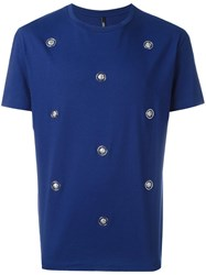 Versus Lion Head Studded T Shirt Blue