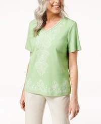 Alfred Dunner Turks And Caicos Embellished Top Lime