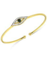 Macy's Diamond Evil Eye Flexie Bangle Bracelet 1 6 Ct. T.W. In 14K Gold Plated Sterling Silver