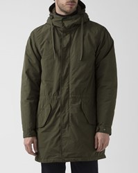 Aspesi Hooded Khaki Water Repellent Parka With Fur Lining