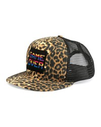 Leopard Print 'Game Over' Flat Bill Hat Brown Women's Saint Laurent