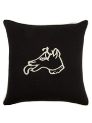 Bella Freud Dog Intarsia Wool Blend Cushion Black