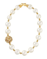 Gold Plated And Pearl Beaded Necklace Jose And Maria Barrera White