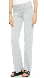 Splendid Terry Fold Over Pants Charcoal Heather Grey