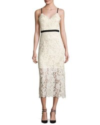 Catherine Deane Sleeveless Lace Midi Dress Ivory Black Ivory Black