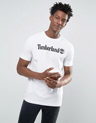 Timberland Linear Logo T Shirt In White White