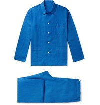 Anderson And Sheppard Linen Pyjama Set Blue