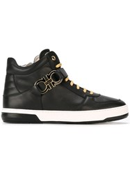 Salvatore Ferragamo Gancio Hi Top Sneakers Black