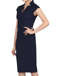 Jolie Moi High Collar Ruched Bodycon Dress Navy