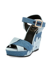 Roger Vivier Patchwork Denim Wedge Sandal Baltic Chiaro Air Size 37.5B 7.5B Blue Multi