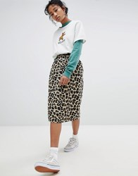 Stussy Pencil Skirt In All Over Leopard Print Multi