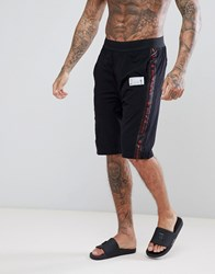 Religion Lounge Shorts With 'We Live In Black' Side Tape Black