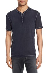 John Varvatos Men's Star Usa Snap Short Sleeve Henley Marine
