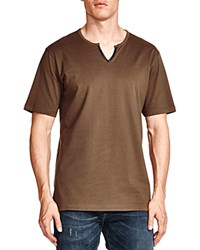 The Kooples Notched Faux Leather Trim Tee Khaki