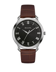 Bulova Classic Stainless Steel Brown Leather Strap Watch 96A184