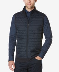Perry Ellis Men's Big And Tall Puffer Quilted Vest Dark Blue