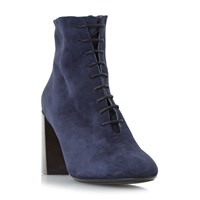 Dune Black Ochre Lace Up Flared Heel Boots Navy
