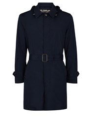 Aquascutum London Ossett Hooded Belted Raincoat Navy