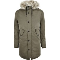 River Island Mensgreen Faux Fur Trim Parka Jacket