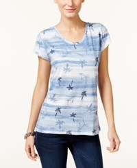 Styleandco. Style Co. Bandana Print T Shirt Only At Macy's Blue Combo