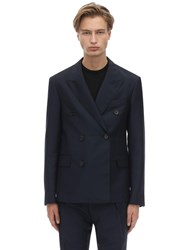 Lanvin Double Breasted Wool And Mohair Jacket Navy
