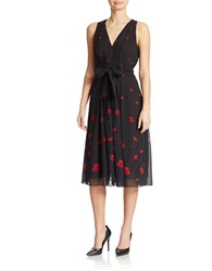 Anne Klein Floral Print Midi Dress Black Combo