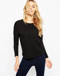 Asos Top With Long Sleeve And Seam Detail Black