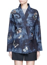 Valentino Butterfly Embroidered Tie Dye Print Denim Kimono Jacket Multi Colour